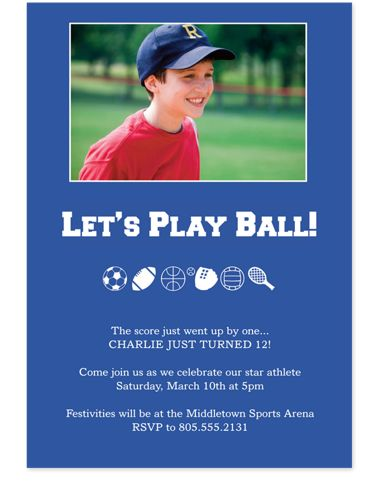 Winning Team Photo Kid Party Invitations