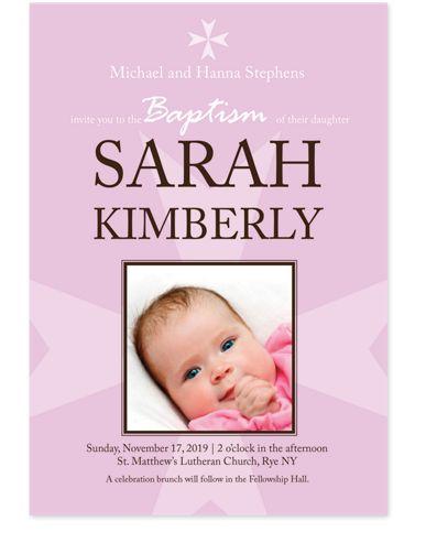 Baptism Girl Kid Party Invitations