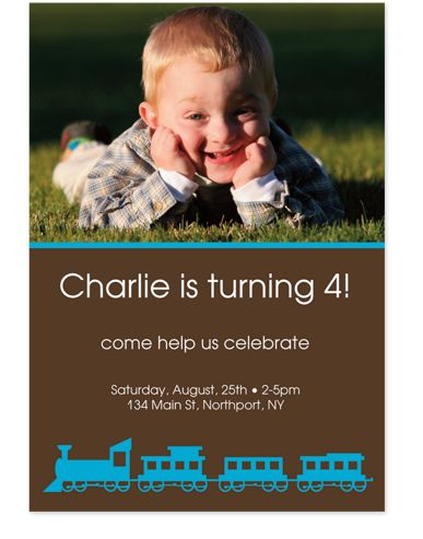 Choo Choo Kid Birthday Party Invitations