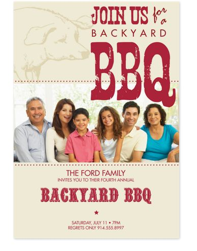 Backyard BBQ Adult Party Invitations