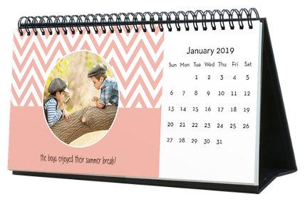 Contemporary 12 Month Photo Softcover Desk Calendar 10 x 5