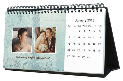 Vintage 12 Month Photo Hardcover Desk Calendar 10 x 5