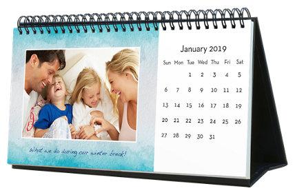 Watercolor 12 Month Photo Hardcover Desk Calendar 10 x 5
