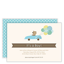 Bear's Special Delivery Boy Baby Shower Invitations