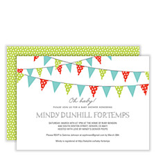 Flags Flying Green Baby Shower Invites
