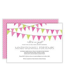 Flags Flying Pink Girl Baby Shower Invitations