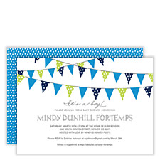 Flags Flying Blue Boy Baby Shower Invitations