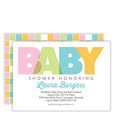 Pastel Blocks Baby Shower Invites