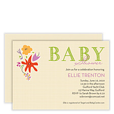 Flower Basket Baby Shower Invitations