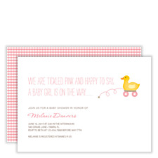 First Toys Girl Baby Shower Invitations
