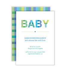 Plaid Baby Boy Baby Shower Invitations