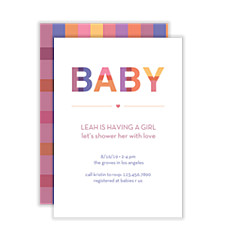 Plaid Baby Girl Baby Shower Invitations