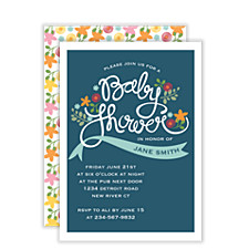 Folk Art Floral Baby Shower Invitations