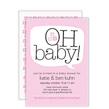 Word Balloon Pink Girl Baby Shower Invitations