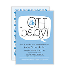 Word Balloon Blue Boy Baby Shower Invitations