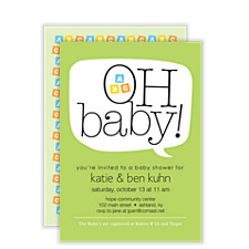 Word Balloon Green Baby Shower Invites