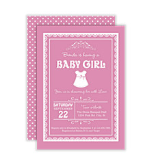Pink Boutique Girl Baby Shower Invitations