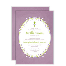Purple Vines Baby Shower Invitations