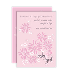 Bubble Hearts Girl Baby Shower Invitations