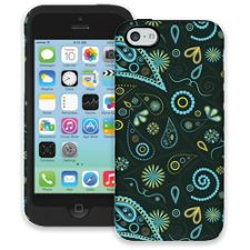Turquoise Paisley iPhone 5c ColorStrong Cush-Pro Case