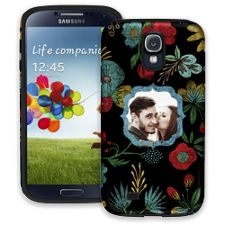 Bright Floral on Black Samsung Galaxy S4 ColorStrong Cush-Pro Case