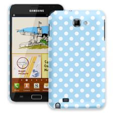 White Polka Dot on Baby Blue Samsung Galaxy Note ColorStrong Slim-Pro Case