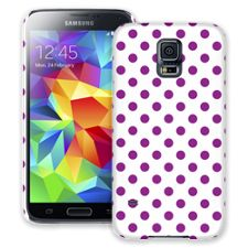 Purple Polka Dot on White Samsung Galaxy S5 ColorStrong Slim-Pro Case