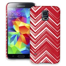 Red & White Scribble Chevron Samsung Galaxy S5 ColorStrong Slim-Pro Case