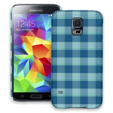 Blue Checkered Plaid Samsung Galaxy S5 ColorStrong Slim-Pro Case