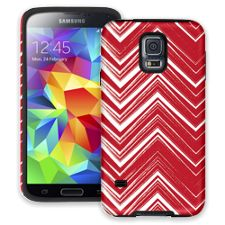 Red & White Scribble Chevron Samsung Galaxy S5 ColorStrong Cush-Pro Case