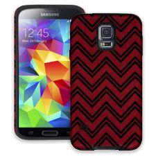Brick Red & Black Double Chevron Samsung Galaxy S5 ColorStrong Cush-Pro Case