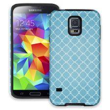 Sky Blue Quatrefoil Samsung Galaxy S5 ColorStrong Cush-Pro Case