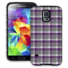 Minimalist Purple & Grey Plaid Samsung Galaxy S5 ColorStrong Cush-Pro Case