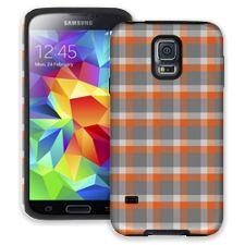 Minimalist Orange & Grey Plaid Samsung Galaxy S5 ColorStrong Cush-Pro Case