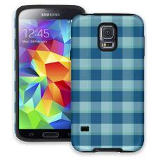 Blue Checkered Plaid Samsung Galaxy S5 ColorStrong Cush-Pro Case