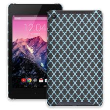 Keyhole Quatrefoil Grey Blue Google Nexus 7 ColorStrong Slim-Pro Case