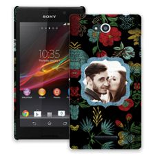 Bright Floral on Black Sony Xperia C ColorStrong Slim-Pro Case