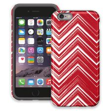 Red & White Scribble Chevron iPhone 6 ColorStrong Cush-Pro Case
