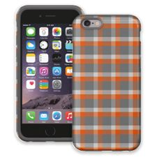 Minimalist Orange & Grey Plaid iPhone 6 ColorStrong Cush-Pro Case