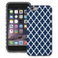Keyhole Quatrefoil Navy Blue iPhone 6 ColorStrong Cush-Pro Case