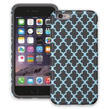 Keyhole Quatrefoil Grey Blue iPhone 6 ColorStrong Cush-Pro Case