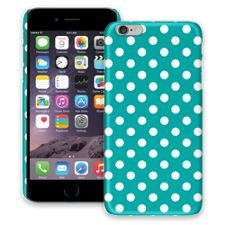 White Polka Dot on Turquoise iPhone 6 Plus ColorStrong Slim-Pro Case