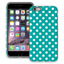 White Polka Dot on Turquoise iPhone 6 Plus ColorStrong Cush-Pro Case