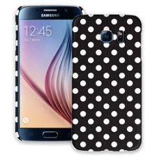 White Polka Dot on Black Samsung Galaxy S6 ColorStrong Slim-Pro Case