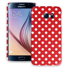 White Polka Dot on Red Samsung Galaxy S6 ColorStrong Slim-Pro Case