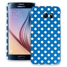 White Polka Dot on Blue Samsung Galaxy S6 ColorStrong Slim-Pro Case