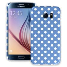 White Polka Dot on Periwinkle Samsung Galaxy S6 ColorStrong Slim-Pro Case