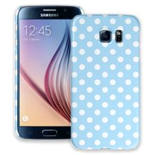 White Polka Dot on Baby Blue Samsung Galaxy S6 ColorStrong Slim-Pro Case