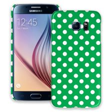 White Polka Dot on Emerald Samsung Galaxy S6 ColorStrong Slim-Pro Case