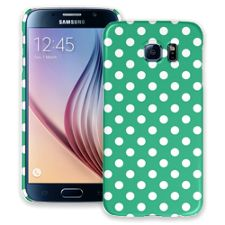 White Polka Dot on Teal Green Samsung Galaxy S6 ColorStrong Slim-Pro Case